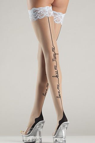 Love Me, Kiss Me, Marry Me Back Seam Thigh High , Hosiery - BeWicked, Hush Hush Intimates