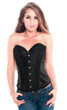 Black Sequin Burlesque Overbust Clubwear Fashion Corset Top , Corset - Hush Hush Intimates, Hush Hush Intimates  - 1
