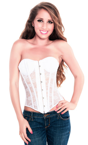 Elegant White Strapless Lace Party Corset Top , Corset - Hush Hush Intimates, Hush Hush Intimates  - 1