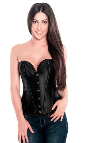 Classic Black Steel Boned Burlesque Fashion Corset Top , Corset - Hush Hush Intimates, Hush Hush Intimates  - 1