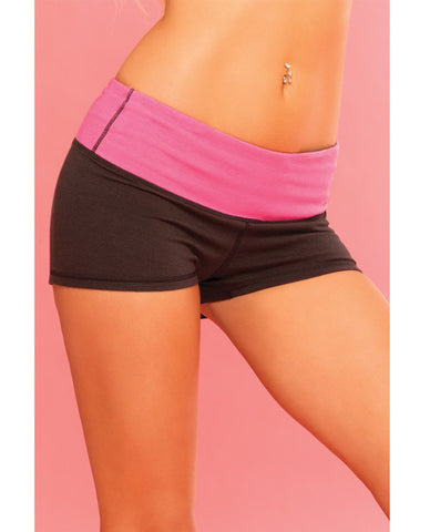 Pink Lipstick Sweat Yoga Short Thick Reversible for Support & Compression w/Secret Pocket , Active Wear - Hush Hush Intimates, Hush Hush Intimates  - 1
