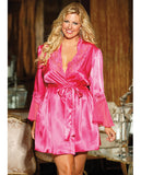 Charmeuse and Lace Robe , Robe - Hush Hush Intimates, Hush Hush Intimates  - 1