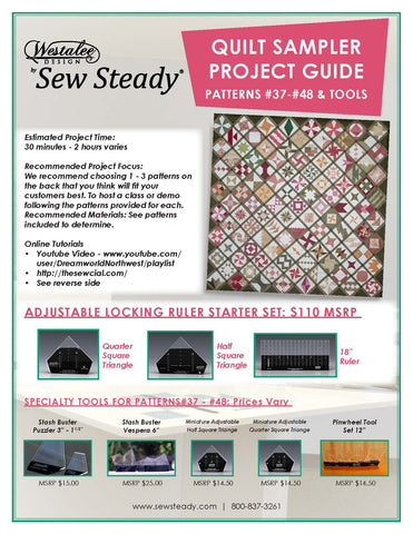 "PATCHWORK TOOLS For Patterns 37-48: Stash Buster Puzzler 3""- 1 1/2"", Stash Buster Vespera 6"", Miniature Adjustable Half Square Triangle,  Miniature Adjustable Quarter Square Triangle & Pinwheel Tool Set 12"" (sold as a set or separately)"