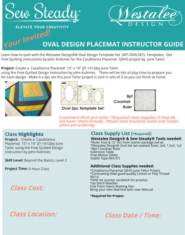 Oval Class: Use Westalee Design Oval Template Set with June Tailor's Placemat Project