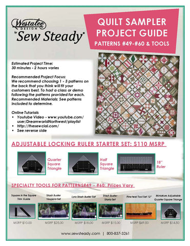 "PATCHWORK TOOLS For Patterns 49-60: Square in the Square Trim Guide, Stash Buster Vespera Set, Lyra Stash Buster Set, Stash Buster Starla, Miniature Adjustable Quarter Square Triangle & Pinwheel Tool Set 12"" (sold as a set or separately)"