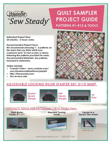 PATCHWORK TOOLS For Patterns 1-12: Square In A Square Trim Guide, Machine Sewing Guide, & Stash Buster Puzzler  (Sold As A Set Or Separately)