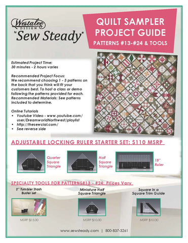 "PATCHWORK TOOLS For Patterns 13-24: Square In A Square Trim Guide, Miniature Half Square Triangle, & 2"" Tumbler Stash Buster set  (Sold As A Set Or Separately)"
