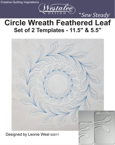 Westalee Design Circle Wreath Feathered Leaf Template Set of 2