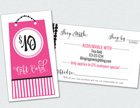 $75 customer special gift card label