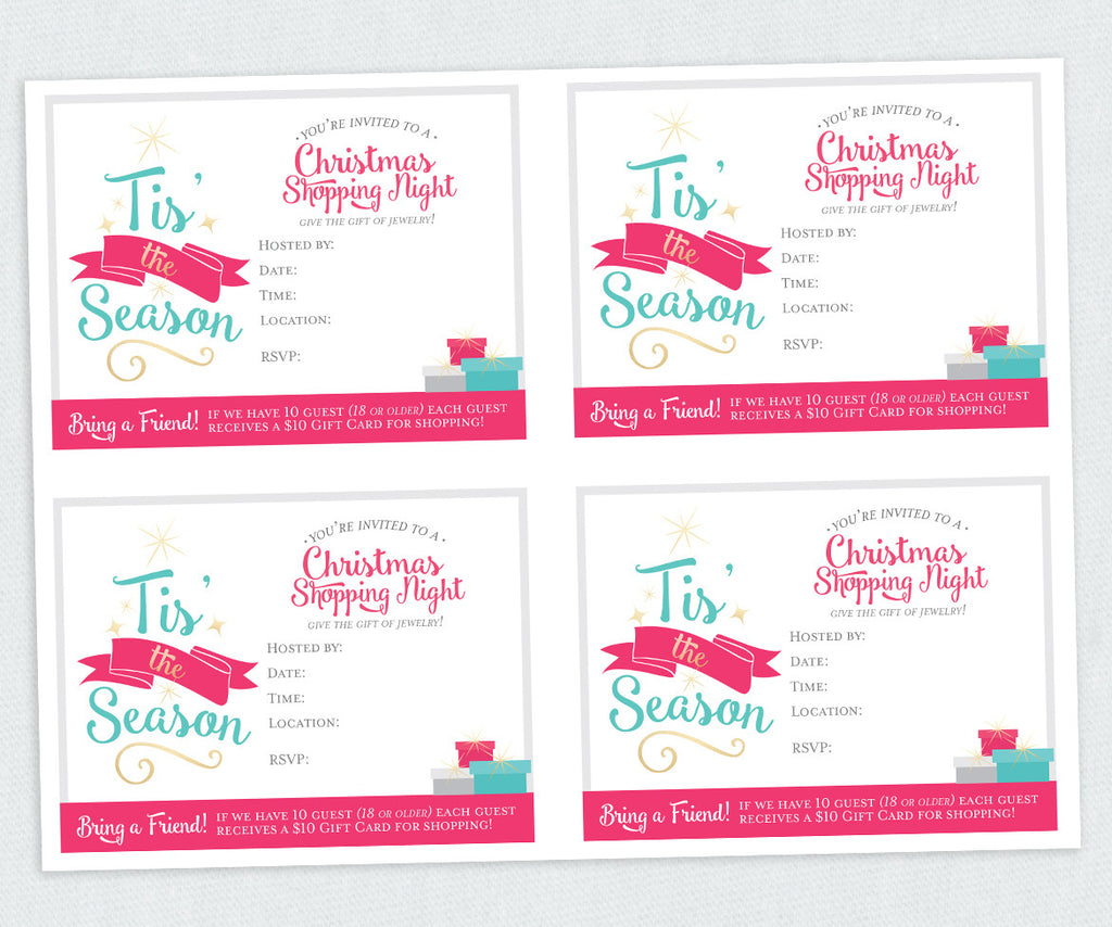 Tis' the Season Christmas Invite With $10 gift info. (Digital Download)