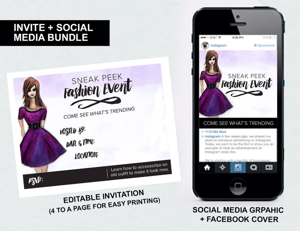 """Sneak Peek Fashion Event"" Invite + Social Media Bundle (Digital Download)"