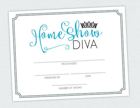 Home Show Diva Certificate