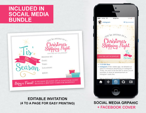 Tis' the Season Christmas Social Media pundle With $10 gift info. (Digital Download)