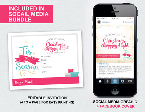 Tis' the Season Christmas Invite + Social Media Bundle (Digital Download)
