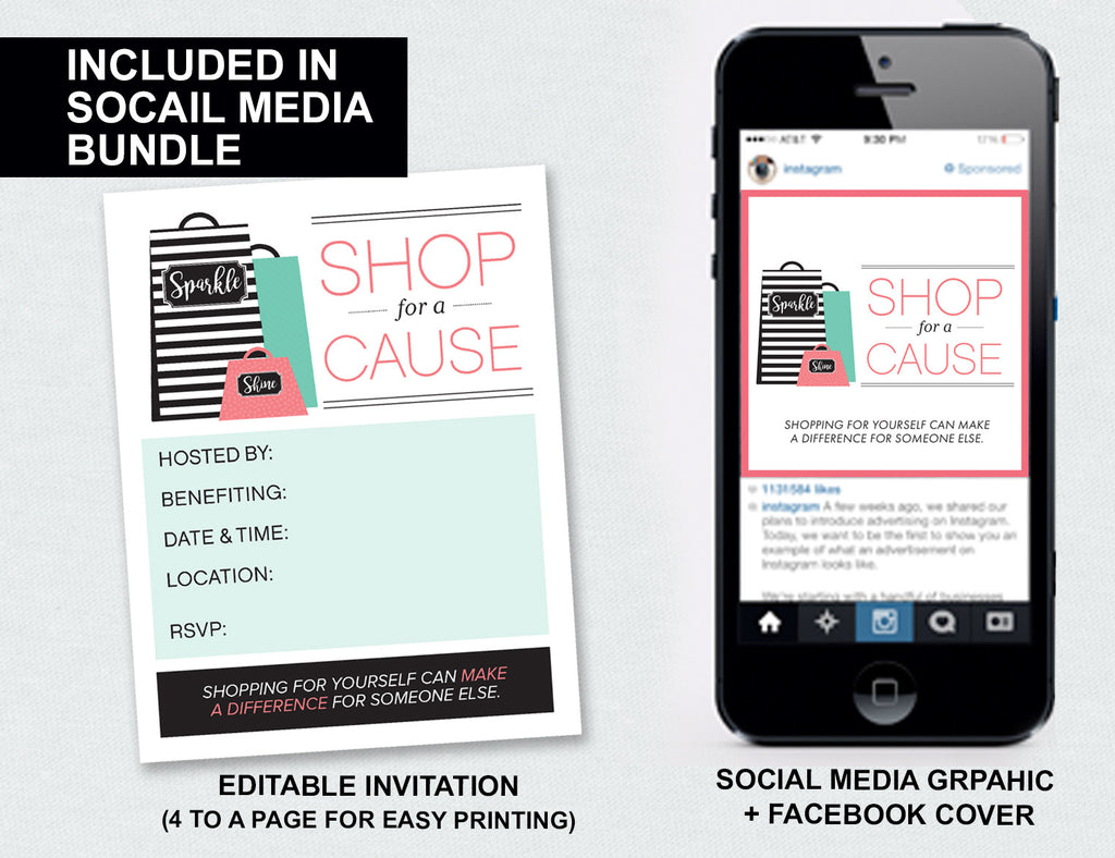 """Shop For a Cause"" Invite+Social Media Bundle (Digital Download)"