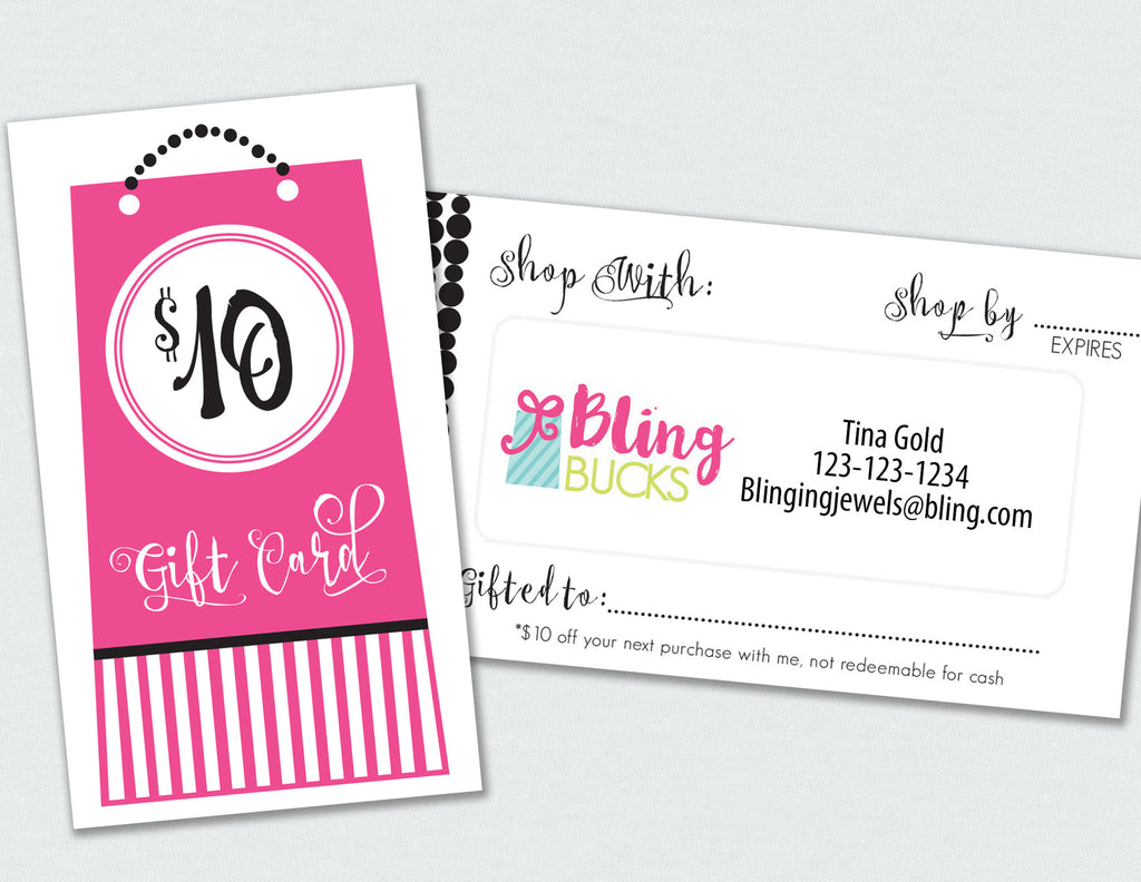 Bling Bucks Gift Card Label