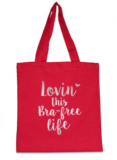 "Ruby Ribbon ""Bra Free Life"" (Red/Silver Ink Small Tote)"