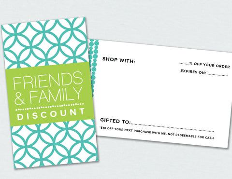 Family and Friends Discount Card (Digital Download)