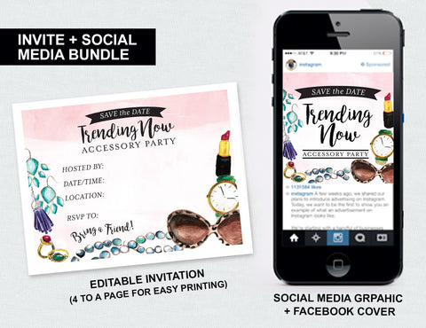"""Trending Now"" Accessory Party Save the Date (Digital Download)"