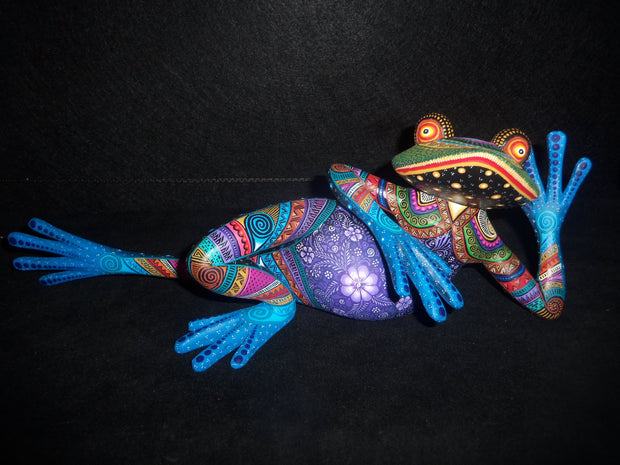 Beautiful Mexican Folk Art Oaxacan Wood Carving Frog by Julia Fuentes