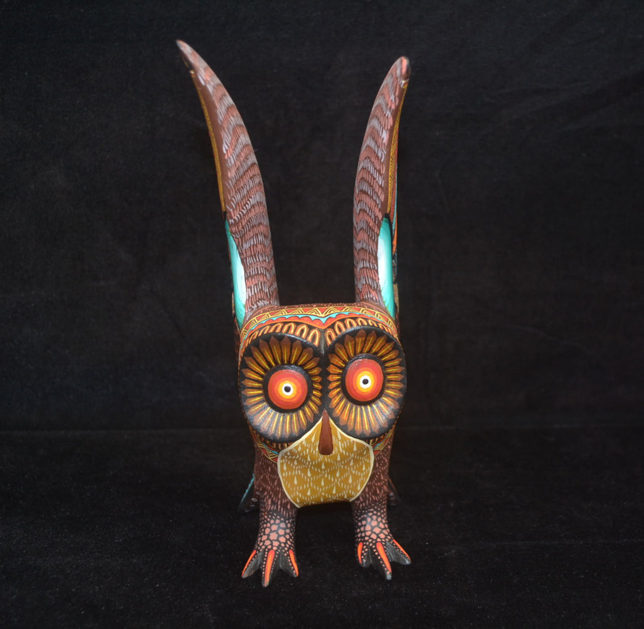 Beautiful Mexican Folk Art Oaxacan Wood Carving Owl by Julia Fuentes