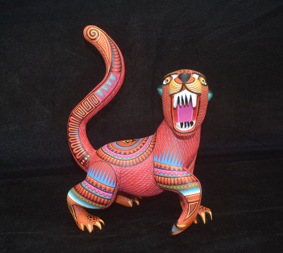 Beautiful Mexican Folk Art Oaxacan Wood Carving Sabertooth Cat by Julia Fuentes