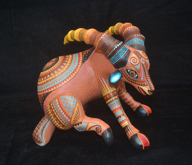 Beautiful Mexican Folk Art Oaxacan Wood Carving Ibex by Julia Fuentes