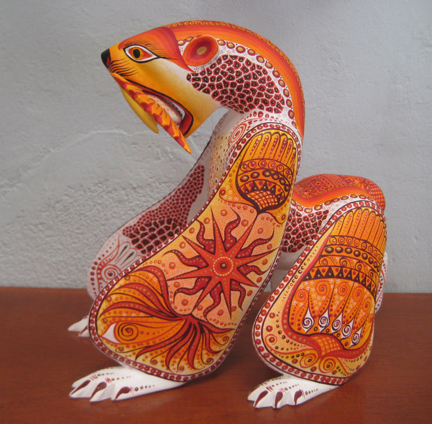 Beautiful Mexican Folk Art Oaxacan Wood Carving Polar Bear by Luis Sosa