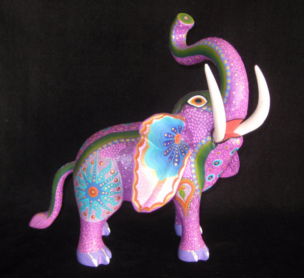 Beautiful Mexican Folk Art Oaxacan Wood Carving Elephant by Luis Sosa