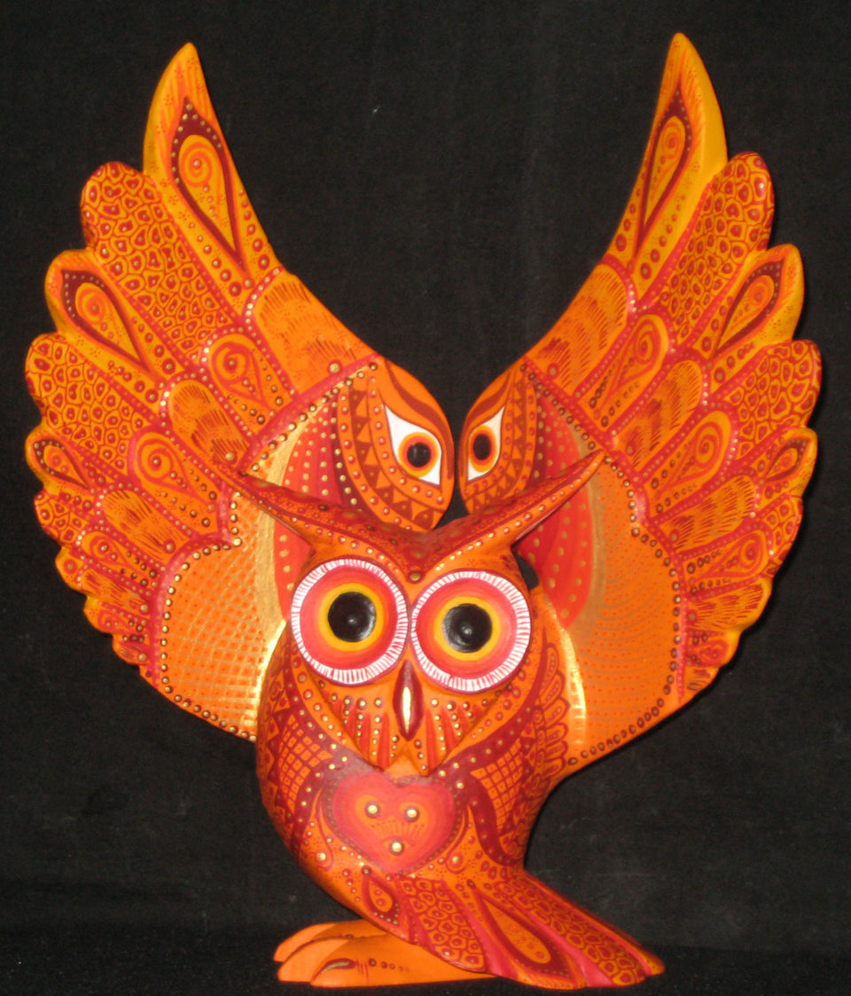 Extraordinary Owl Oaxacan Wood Carving by Luis Sosa
