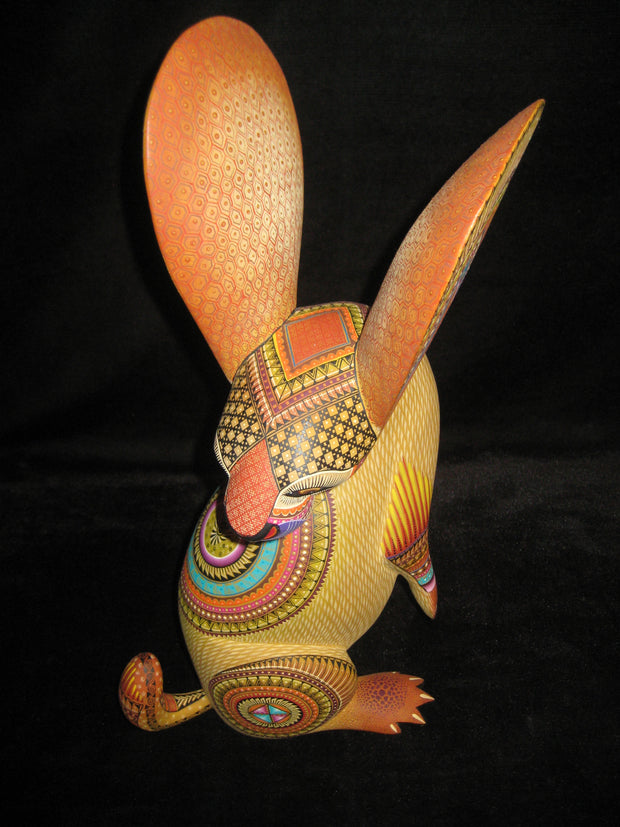 Beautiful Mexican Folk Art Oaxacan Wood Carving Rabbit by Julia Fuentes