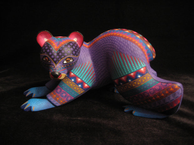 Beautiful Mexican Folk Art Oaxacan Wood Carving Bear by Julia Fuentes
