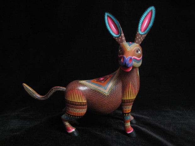 Beautiful Mexican Folk Art Oaxacan Wood Carving Donkey by Julia Fuentes