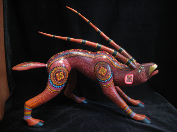 Beautiful Mexican Folk Art Oaxacan Wood Carving Antelope by Julia Fuentes