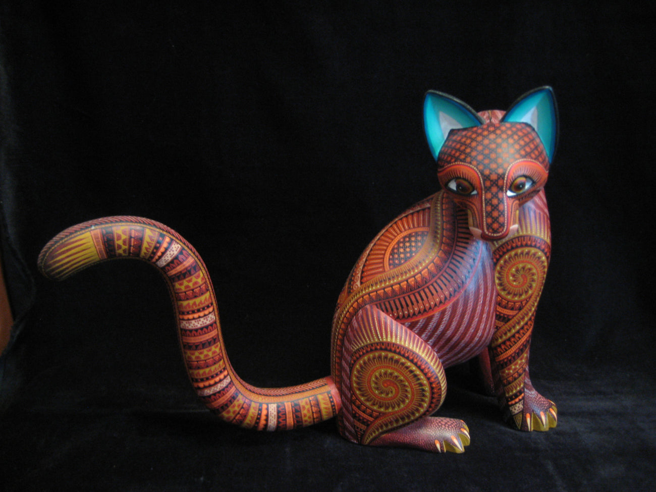 Beautiful Mexican Folk Art Oaxacan Wood Carving Cat by Julia Fuentes