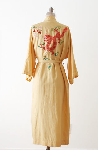1940's Dragons and Pearls Silk Robe