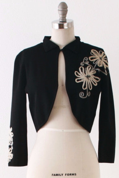 1970's Maurice Sasson Embroidered Bolero l S/M