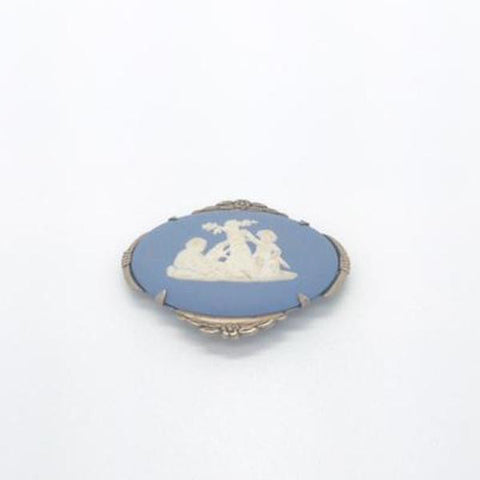 1950's Sterling Silver Wedgwood Blue Jasperware Cameo Brooch