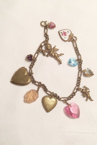 1960's Brass Charm Bracelet Locket & Crystals