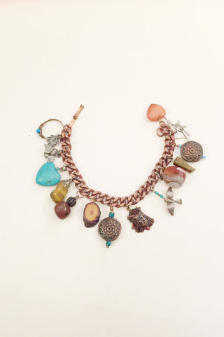 1970's Native American Copper & Sterling Charm Bracelet