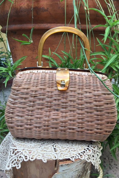 1950's Simon Hong Kong Wicker Handbag