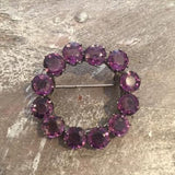 1950's Amethyst Crystal Circle Brooch