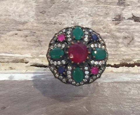 Vintage Italian Emerald Ruby Sterling Silver Ring l 9