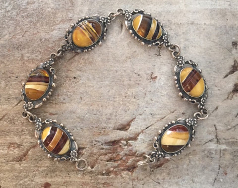 1980's  Pewter Tiger Eye Bracelet