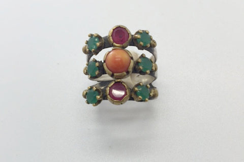 Vintage Sterling Silver & Brass Jade Ruby & Orange Turquoise Ring