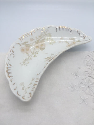 1910 Henry Alcock Porcelain Crescent Moon Gilded Dish