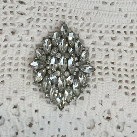 1950's Crown Jewel Marquis Rhinestone Brooch