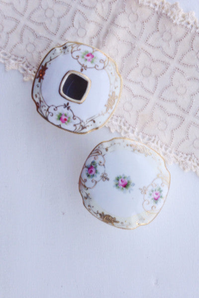 Antique Nippon Hand-Painted Gilded Rose Victorian Hair Receiver and Powder Jar