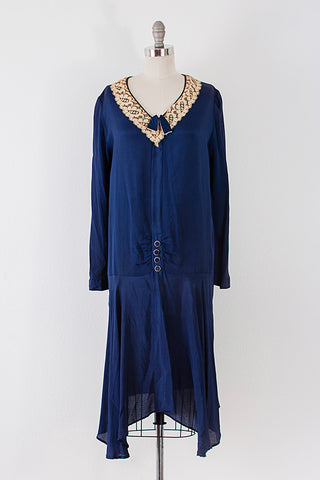 1920's Kennedy Crepe Day Dress l L