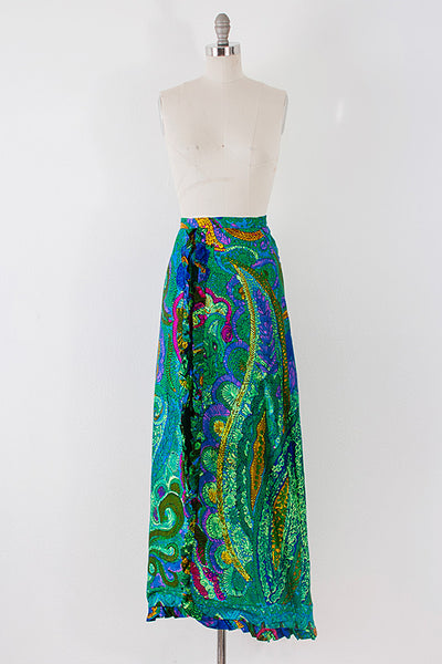 1970's Peacock Maxi Skirt with Zip Slit l XS